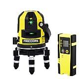 Firecore Professional Linien und Plumb Punkt Laser FIR411G mit Laser-Empfänger FD20 und Transportkoffer(Akku Ladegerät,Arbeitsbereich mit Empfänger: 50 m )Grün