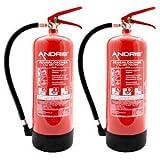 2X 6kg ABC Pulver Feuerlöscher + 2X ANDRIS Prüfnachweise und ISO Piktogramme