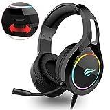 havit Headset für PS4, RGB Gaming Headset für PC, Xbox One, Nintendo Switch, Laptop, mit Surround Sound 50MM Treiber und Rauschunterdrückung Mikrofon (Schwarz)