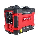 Matrix 160100032 Inverter Stromerzeuger, Stromgenerator Benzin leise, 4 takt, 2000 Watt, für Camping und Garage, rot, schwarz