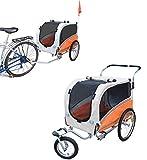 Papilioshop Argo Hundeanhänger hundewagen fahrradanhänger für Hunde S-M-L (Orange Large)
