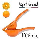 Orangenpresse Appetit Gourmet  - manuelle Zitruspresse 2 in 1, unzerbrechlich aus Aluminium - Gerät für das Auspressen von Orangen, Grapefruits und großen Zitrusfrüchten - 100% Saft ohne Kerne