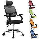 FEMOR Bandscheiben ergonomisches Drehstuhl Bürostuhl Chefsessel sitzkomfort Bürodrehstuhl Binklusive Armlehnen/Stoffbezu- bis 130KG - Höhenverstellung - Farbwahl (Schwarz)
