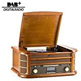 SHUMAN 8 IN 1 Holzmusik System mit Plattenspieler / CD-MP3-Player / Bluetooth / USB-Anschluss / DAB / FM-Radio / Kassettenspieler / Aufnahme(MC250DBT)