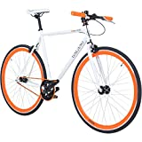 Galano 700C 28 Zoll Fixie Singlespeed Bike Blade 5 Farben zur Auswahl, Rahmengrösse:56 cm, Farbe:Weiss/orange