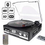 Plattenspieler 7-in-1 dl mit Fernbedienung, Bluetooth,Radio,Kassettenspieler,USB,SD und Encoding, 3-Geschwindigkeit 33/45/78 Vinyl Turntable Record Player
