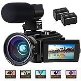 Videokamera 4K Camcorder Ultra HD Wi-Fi Digitalkamera 48MP IR-Nachtsicht 16X Digitalzoom Recorder 3,0 'IPS Touchscreen Vlog-Kamera für YouTube mit Mikrofon, Weitwinkelobjektiv, 2 Batterien