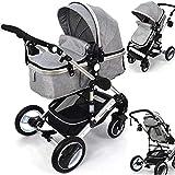 Kombi Kinderwagen 2in1 Bambimo mit Alu-Rahmen in vielen verschiedenen Farben - Klick System - alle 4 Reifen zum abnehmen - mit extra großem Einkaufskorb - 2in1 Sportsitz - Babywanne Platzsparend