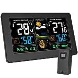 Wetterstation mit Außensensor Innen und Außen Kalawen 9-IN-1 Funkwetterstation mit Farbdisplay Digital Thermometer Hygrometer Regenmesser und Uhrzeit Anzeige für Zuhause Büro Hausgarten