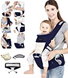 Azeekoom Babytrage Ergonomische, Kindertrage mit Hüftsitz, Befestigungsgürtel, Lätzchen, Schultergurt, Kopfbedeckung für Neugeborene bis Kinder von 0 bis 36 Monaten (Dunkelblau)