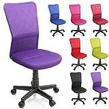 TRESKO Bürostuhl Schreibtischstuhl Drehstuhl, mit Kunststoff-Leichtlaufrollen, stufenlos höhenverstellbar, gepolsterte Sitzfläche, ergonomische Passform, Lift SGS-geprüft (Lila)