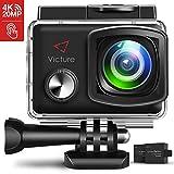 Victure Action Cam 4K 20MP WiFi Touch Screen Ultra Full HD 30 Meters Unterwasserkamera Einstellbare 170°Fischaugen-Linse EIS Sports Kamera 2×1350mAh Ersatzbatterien and Halterungs-Kit