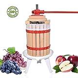 Obstpresse Apfelpresse Fruchtpresse der mit Hölzernem Korb für Selbst Gemachten Natürlichen Saft, Traube, Beere, Apfel, Fruchtpresse Weinpresse inklusive Kostenlos Pressnetz (6L)