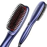 FURIDEN Glättbürste Haarglätter Bürste, Glättbürste Für Kurze Haare Anti-Verbrühen, Haarglätter Bürste mit Keramik Schneller Aufheizung 130°C-230°C