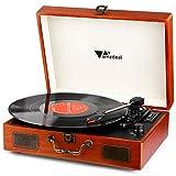 Schallplattenspieler - Amzdeal Tragbarer Plattenspieler Retro Bluetooth Turntable 3-Gang 33/45/78 (U/min) mit 2 eingebauten Lautsprechern, multifunktional USB/SD/MMC Stecker, Cinch-Ausgang, Vintage