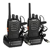Baofeng BF-88E PMR Funkgerät Set, PMR 446 Walkie Talkie 16 Kanäle Handfunkgerät mit USB Anschluß und Headset, Lizenzfrei (2 Stücke)