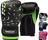 RDX Boxhandschuhe Kinder Muay Thai Boxsack Training Sparring Kickboxen Sandsack Junior Maya Hide Leder Boxing Gloves, mehrfarbig (Grün/Schwarz), 6 oz