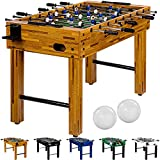 Maxstore Tischfussball 'Glasgow', 5 Dekore: Holz/Schwarz/Blau/Soccer/Weiß, inkl. 2 Bälle, 2 Getränkehalter, höhenverstellbare Füße, hochgezogene Spielfeldecken, Tischkicker, Kicker, Kickertisch
