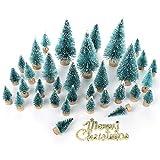 LouisaYork Miniatur-Weihnachtsbaum, Mini-Tischbaum, 34 Stück, Mini-Sisal, Schnee, Frost, Baum, Mikrolandschaft für Weihnachten, Basteln, Tischdekoration