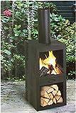 Ambiance Gartenkamin Terrassenofen Kamin Ofen Holzheizung Feuerstelle 130cm top Optik
