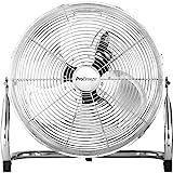 Pro BreezeTM 50 cm Bodenventilator aus Chrom | Ventilator mit 3 Geschwindigkeitsstufen und verstellbaren Ventilatorkopf | Windmaschine für Fitnessstudio oder Werkstatt