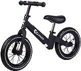 Clamaro 'Roadstar' 12' Kinder Laufrad ab 1 Jahr für Jungen und Mädchen, Balance Lauflernrad mit leichtem 3,6 kg Magnesium Aluminium Rahmen, Luftreifen und mitwachsendem Sitz und Lenker, schwarz matt