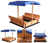 Home Deluxe - Sandkasten Buddelkiste - Mit verstellbarem Dach und Bodenplane - Maße: 130 x 120 x 120 cm - inkl. komplettem Montagematerial