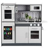 Kinderholzküche Kinderküche Holzküche Kinderspielküche Weiss Spielzeugküche LED GS0057 Spielküche mit Schränken aus Holz extra große Holzküche Kinder Spielzeug aus Holz Spülbecken mit Wasserhahn …