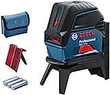 Bosch Professional Kreuzlinienlaser GCL 2-15 (roter Laser, mit Lotpunkten, Arbeitsbereich: 15 m, 3x AA Batterien, Drehhalterung RM 1 Professional, Laserzieltafel, Schutztasche)