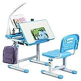 COSTWAY Kinderschreibtisch höhenverstellbar, Schülerschreibtisch mit Lampe, Kindermöbel neigungsverstellbar, Kindertisch mit Stuhl, Schreibtisch mit Schublade, Farbewahl (Blau)