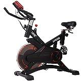ISE Profi Indoor Cycle Ergometer Heimtrainer mit Pulsmesser,LCD Anzeige,Armauflage,Pulsgurt,gepolsterte,10kg Schwungrad, Fitnessbike Speedbike mit flüsterleise Riemenantrieb-Fahrrad bis 135Kg