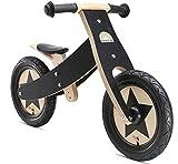 BIKESTAR Mitwachsendes Kinder Laufrad Holz Lauflernrad Kinderrad für Jungen Mädchen ab 2-4 Jahre   12 Zoll 2 in 1 Kinderlaufrad   Schwarz   Risikofrei Testen
