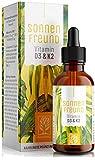 Vitamin D3 K2 Tropfen hochdosiert - 100% Vegan - Vitamin D aus pflanzlichen Flechten (ohne tierisches Lanolin) 1.000 IE + Vitamin K2 All Trans MK7. Geprüft und hergestellt in Deutschland