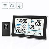 BACKTURE Wetterstation, Digitale Funk Thermometer-Hygrometer mit Außensensor Hintergrundbeleuchtung Innen und Außen temperatur/Wecker/Feuchte/Barometer/Uhr