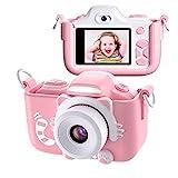 Kriogor Kinder Kamera, Digital Fotokamera Selfie und Videokamera mit 12 Megapixel/ Dual Lens/ 2 Inch Bildschirm/ 1080P HD/ 256M TF Karte, Geburtstagsgeschenk für Kinder (Rosa)