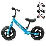 Birtech Laufrad Kinder ab 1 2 3 4 Jahre Balance Fahrrad 12 Zoll Kinderrad Lauffahrrad Sport Fahrrad mit Stahlrahmen, Verstellbarer Lenker & Sitz für Kinder,Blau