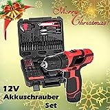 Homdox Professional Akku Bohrschrauber Li-Ion Bohrer-Treiber Akkuschrauber Set, 12V 1300mAh, 18 Nm Drehmoment , 77er Zubehör