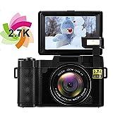Kamera Digitalkamera Videokamera Full HD 1080P Vlog Kamera 24,0 Megapixel 4X Digitalzoom Versenkbare Taschenlampe Fotokamera 3 Zoll Bildschirm