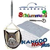 Federwiege Amazonas Kangoo MAXI plus Babyhängematte + Matratze + Inlay Sunny grey + Schlummerli-Feder + Deckenhaken