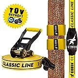 Gibbon Slacklines Classic Line mit Tree Pro, Gelb, 15 Meter (12,5m Band + 2,5m Ratschenband),inklusive Baumschutz, Ratschenschutz und Ratschenrücksicherung, 50 mm breit