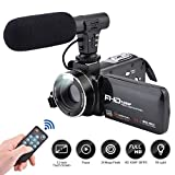 Videokamera-Camcorder, 3,0-Zoll-IPS-Touchscreen FHD 1080P-Vlogging-Kamera mit Blitz, 24-Megapixel-Digital-Camcorder mit externem Mikrofonlautsprecher 16-fach Digitalzoom-Kamera