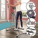 Physionics Crosstrainer mit LCD Display - für Zuhause, mit Herzschlag Sensor und Bauchunterstützung - Heimtrainer Stepper, Cardio-Trainer, Nordic-Walker