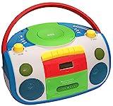 HARLEKIN TRAGBARER KINDER RADIO-KASSETTEN-CD PLAYER I STEREOANLAGE I BOOMBOX I WEISS GRÜN BLAU ROT GELB l FM-RADIO I LCD-DISPLAY I KOPFHÖRERANSCHLUSS I 2 x 1,5 W RMS-LEISTUNG I KASSETTENDECK I BUNT