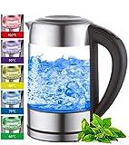 Glas Wasserkocher 1,7 Liter | 2200 Watt | Edelstahl mit Temperaturwahl | Teekocher | 100% BPA FREI | Warmhaltefunktion | LED Beleuchtung im Farbwechsel | Temperatureinstellung (60°C-100°C)