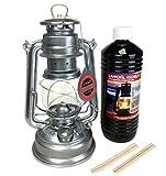 Feuerhand Set Sturm Laterne 276 Lampe verzinkt, 1 Liter Lampenöl + 2 Ersatz Dochte