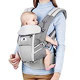 Meinkind Babytrage Bauchtrage Rückentrage Baby Carrier 4in1 (9 Trageposition) für Säugling bis 48 Monate(3.2-20kg) Kleinkind, Ergonomische Kindertrage, Atmungsaktiv, Hellgrau