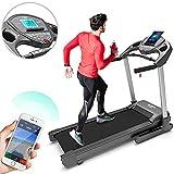 Bluefin Fitness Kick High-Speed Laufband   Leise   20 km/h + 7 PS + 15% Steigung   Gelenkschonende Technologie   Digitale Fitnesskonsole   App + Bluetooth-Lautsprecher + Herzfrequenzsensoren (Scwarz)