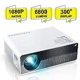 Beamer, ELEPHAS [Native 1080P] Full HD 6800 Lumen 300' LCD Projektor, für Film Unterhaltung Spiele, unterstützt 2K HDMI VGA AV USB Micro SD, Weiß. MEHRWEG
