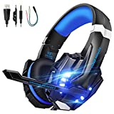VTAKOL Gaming headset for PS4, 3.5mm Surround Sound Wired Gaming Headphones with Microphone, LED Light, Headphones for Laptop, Xbox one, PC, Smartphone