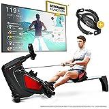 Sportstech Rudergerät RSX500 mit Smartphone steuerbar - Pulsgurt im Wert von 39,90 inkl. - Fitness App - 16 Programme - Magnetwiderstand - Wettkampfmodus - klappbar (RSX500)